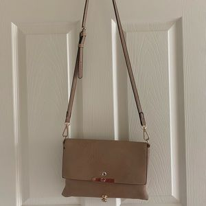 Tan leather and gold crossbody purse